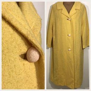 1960's Bright Sunshine Yellow Boucle Women's Coat